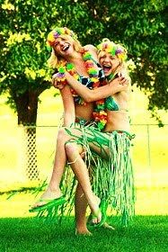 Hawaiian Party Games - water balloon toss, coconut throw