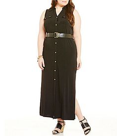MICHAEL Michael Kors Plus Matte Jersey Maxi Shirt Dress #Dillards