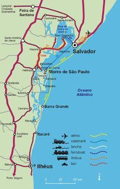 ❣ Map of beaches in Bahia, Brazil Central America, South America, Heart Map, Rio Grande Do Norte, Brazil Travel, Easter Island, Four Seasons, Beach, Summer Time