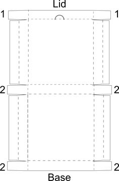 Here is a pizza box svg file and printable template. Cut the box, then score and fold all of the dashed lines (don't fold the half circle in the lid). Fold the #1 tabs into the lid and the #2 tabs...