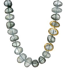 Aquamarine and Moss Aquamarine Necklace with three stones wrapped with 24K Gold