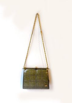 Vintage 1960s green stamped faux crocodile patent by evaelena