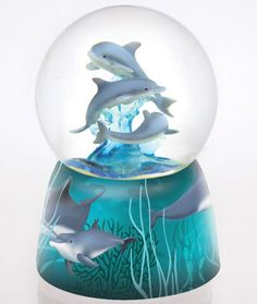 Musical snow globes & water balls- Dolphins water globe