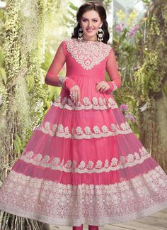 #Pink #Net Ankle Length #Anarkali #Suit
