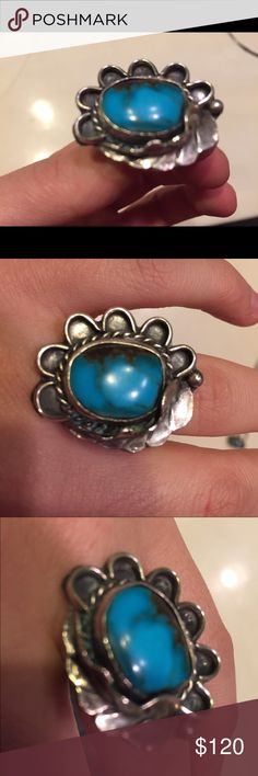 WOW! Sterling and turquoise flower ring! HUGE! This ring is a stunner! It is authentic tested sterling silver and turquoise ring. Sz 6.5. Has beautiful flower and leaf design. Vintage Native American piece. Only selling because it only fits my ring finger now, but I wear my wedding ring on that finger, so this never gets worn:( HUGE one of a kind piece! Would make an awesome Christmas gift!🎄 Vintage Jewelry Rings