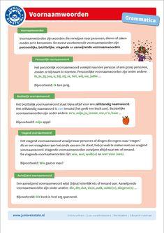 Voornaamwoorden Spelling For Kids, Home Activities, Grammar, Netherlands, Einstein, Infographic, Language, Classroom, Teacher