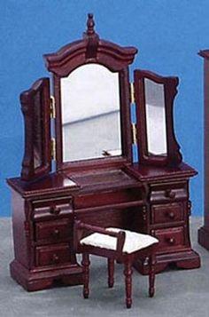 Mahogany Vanity with Stool | Mary's Dollhouse Miniatures
