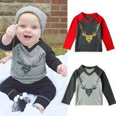 Baby Boys Deer Print Tops T-shirt Clothes Outfits  Boys  trendykids   kidsmoda d67fedadd3b