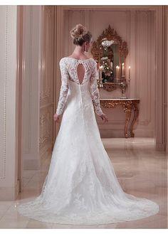 Alluring Tulle A-line V-neck Neckline Natural Waistline Wedding Dress