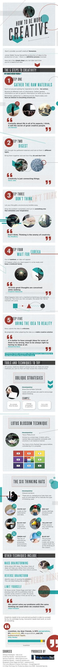 Boost Creativity: You don& have to be an artist to be creative. We were all born to be creative. This infographic tells us more. Design Thinking, Creative Thinking, Cv Inspiration, Graphic Design Inspiration, Creative Inspiration, Boost Creativity, Creativity And Innovation, Graphisches Design, Social Media
