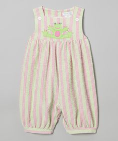 Loving this Pink & Green Seersucker Frog Bubble Romper - Infant on #zulily! #zulilyfinds