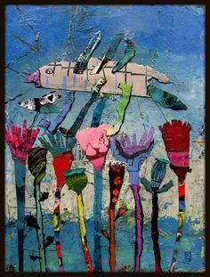 Elke Trittel acrylic / collage on board 20x25cm