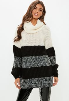 """a knitted sweater in a long length style featuring a cowl neck and color block detail. oversized fit - for a more snug fit, try choosing a size down! 100% acrylic approx length: 71cm/28"""" (based on a uk size 8 sample) taina wears a uk size 8 / eu size 36 / us size 4 and her height is 5'9"""" product number: k2229732 machine washable Fall Winter Outfits, Summer Outfits, Cute Outfits, Winter Clothes, Work Fashion, Missguided, Casual Wear, Autumn Fashion, Sweaters For Women"""