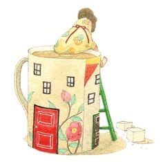 Tiny girl on the mug Disney Illustration, Coffee Illustration, House Illustration, Graphic Design Illustration, Chocolate Drawing, Painting & Drawing, Illustrators, Tea Party, Storytelling