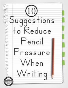 Some students press too hard during handwriting tasks. Here are 10 suggestions to reduce pencil pressure when writing from Your Therapy Source. Handwriting Without Tears, Nice Handwriting, Handwriting Practice, Handwriting Styles, Pre Writing, Writing Skills, Writing Tips, Hand Writing, Handwriting Activities