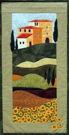 Sewing Instructions Living - House in Tuscany - a unique product by naehzentrum-hd on DaWanda House Quilt Patterns, House Quilt Block, House Quilts, Crazy Quilting, Colchas Quilting, Mini Quilts, France Patchwork, Landscape Art Quilts, Applique Quilts