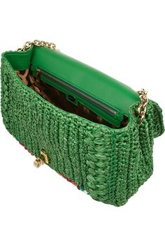 Dolce & gabbana Miss Dolce Medium Embellished Raffia and Leather Shoulder Bag in Green | Lyst