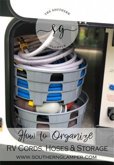 How to organize your cords hoses and storage in an RV or pop up camper. These decisions will help maximize your space and keep everything in good working order! Travel Trailer Organization, Travel Trailer Camping, Rv Organization, Camping Car, Travel Trailers, Family Camping, Travel Trailer Living, Airstream Camping, Airstream Trailers
