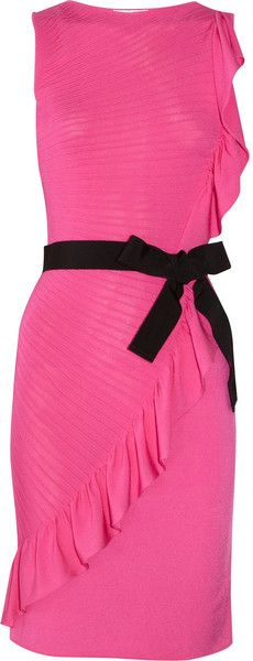 Valentino Ruffle Trimmed Knitted Dress in Pink (fuchsia) | Lyst