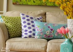 Brighten any room with easy-to-make envelope pillows in the fabrics of your choice.