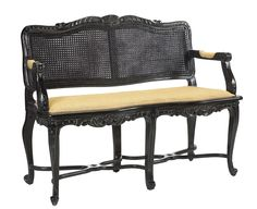U-3074-0749-BLK Braslou Caned Banquette available at French Heritage.