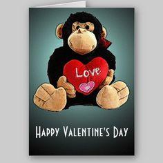 Monkey Around Valentine's Day Card from http://www.zazzle.com/stevebrownleeart