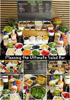 Salad Bar - ideas for party foods to serve buffet setup ideas and more!Ultimate Salad Bar - ideas for party foods to serve buffet setup ideas and more! Salad Bar Party, Party Food Bars, Party Salads, Party Food Buffet, Bar Food, Taco Salad Bar, Bbq Food Ideas Party, Parties Food, Snacks