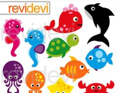 Sea Creatures Clip Art Under the Sea Clipart by StripedElephants