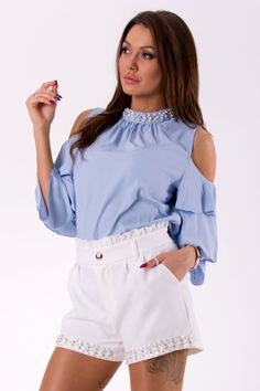 Blouse with bare shoulders, white beads at the neck. with layers sleeves. European production - high quality Color: Blue Fabric: polyester Weight: kg Diana, Brown Skirts, Long Sleeve Mini Dress, Blue Fabric, Skirt Fashion, Street Style, Shoulder, Ootd, Sleeves