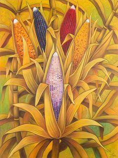 Signed Guatemalan Painting of Corn in a Field - Colors of Corn