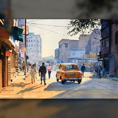 Kolkata, sunshine and the quintessential yellow taxi, beautifully painted in water color by ace artist Ramesh Jhawar.  #oyorooms