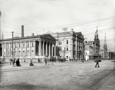 Circa 1902. Courthouse -- Dayton, Ohio. Under a web of streetcar, telephone and telegraph wires.
