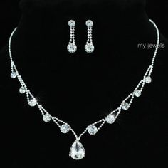 Wedding 10 Carat Crystal Necklace Earrings Set S1191