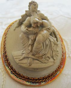 Big Victorian Carved Lava Cameo Brooch Lady Feeding Dog High Relief Grand Tour | eBay