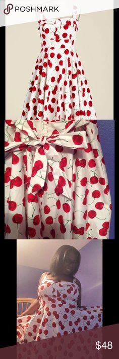 ModCloth, Pick Up a Cherry A-Line Dress 1X sized Cherry print dress for sale. Unfortunately this particular dress was not made in XL (sizes jump from L to 1x) so one of the straps constantly slips, however it's nice and roomy, as well as the fabric provides stretch. ModCloth Dresses Midi
