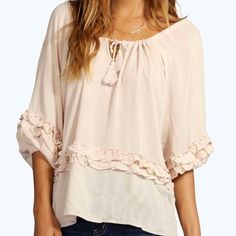"""Super Cute 100% Viscose 1/2 Sleeve Boho Top Super Cute 100% Viscose 1/2 Sleeve Boho Top Beautiful fabric in a pale blush color. May be tied around top of blouse to wear as on or off shoulder. Bust-54"""" Sleeve Length (from armpit)-11"""" Length-23"""" Tops Blouses"""
