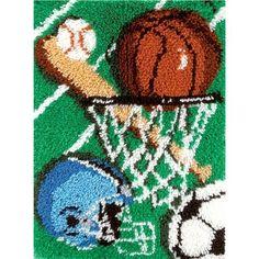 Basketball, Football, Baseball, Soccer. Natura R058 20-Inch by 27-Inch #Latch-Hook Kit, Sports Caron International