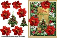 A very pretty Christmas card, easy to make, and you can print as many need. fits any envelope when finished. Christmas Frames, Christmas Wreaths, Christmas Cards, 3d Pattern, Patterns, Decoupage, Floral Wreath, Card Making, Greeting Cards