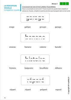 Les capacités de perception visuelle pour les enfants dyslexiques Visual Perception Activities, Stage, Speech Language Therapy, Complex Plane, Dyslexia, Visual Perceptual Activities
