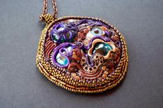 Other worldly landscape bead embroidered polymer by dogzillalives, $68.00