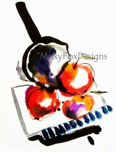 ASIAN APPLES Fine Art PRINT from Original Watercolor Painting Abstract FREE US SHIPPING by MoxyFoxDesigns for $29.95