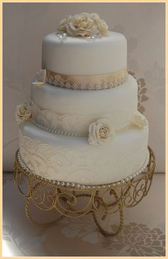 WHITE AND CHAMPAGNE VINTAGE WEDDING CAKE LACE DIAMANTE TRIM DIAMANTE TRIM- ROSAMUND- CHAMPAGNE