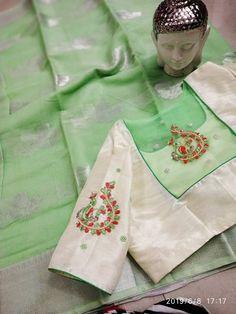 buy kota silk sarees at siri designers 8897195985 Back Design Of Blouse, Simple Blouse Designs, Silk Saree Blouse Designs, Stylish Blouse Design, Blouse Neck Designs, Blouse Patterns, Boho Clutch, South Indian Blouse Designs, Kurti Embroidery Design
