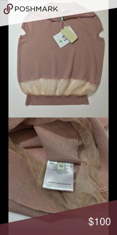 NWT Stella McCartney pink cashmere blend sweater BEAUTIFUL rose colored thin cotton cashmere blend sweater by STELLA MCCARTNEY.  Features a delicate sheer strip above the waist hem that makes the most beautiful semi structured shape. So soft and feminine. I would say this is equivalent to a size 6 or 8, so small/medium. Perfect for Spring. Stella McCartney Tops Blouses