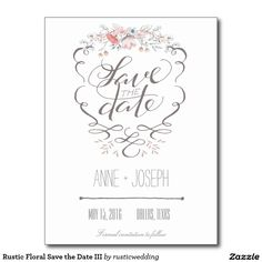 Rustic Floral Save the Date Wedding Flower Invitation Announcement Postcard