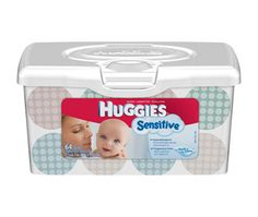 """Case of Huggies Sensitive Baby Wipes - Huggies wipes are thick, soft and absorbent.  They are a real """"splurge"""" for baby. I recommend name brand wipes for the first few months until baby's skin is able to handle tougher wipes."""