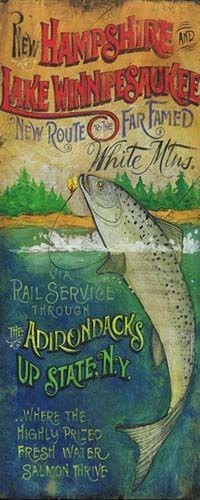 Vintage-style New Hampshire and Lake Winnipesaukee fishing sign