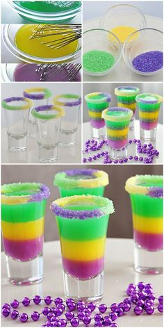 King Cake {Jelly} Shots - perfect for Mardi Gras. Mardi Gras Drinks, Mardi Gras Food, Mardi Gras Party, Jello Shot Cake, Cake Shots, Party Drinks, Cocktail Drinks, Fun Drinks, Cocktail Recipes