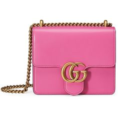 Gucci GG Marmont Small Leather Shoulder Bag (61,740 THB) ❤ liked on Polyvore featuring bags, handbags, shoulder bags, bright pink, leather shoulder handbags, gucci purses, pink shoulder bag, leather flap handbag and leather handbags