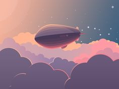 An airship flying above the clouds. Sun on the left and stars in the background -> what time of the day is it? Different shades of purple / pink   / orange show where shadow / light is, smooth edges create playful and calming atmosphere